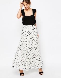 Плиссированная юбка макси в горошек ASOS