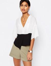 Укороченная блузка в стиле колор блок ASOS - Белый