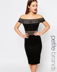 Облегающее платье с широким вырезом и сетчатыми вставками Boohoo Petit