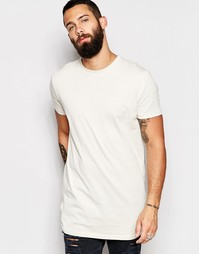 Длинная серая футболка свободного кроя ASOS - White cap grey