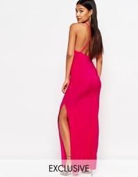 Платье макси с бретелями накрест на спинке Club L - Hot pink