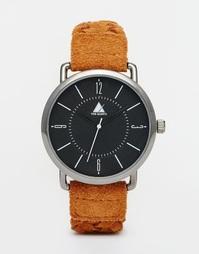 Черные часы со светло‑коричневым плетеным кожаным ремешком ASOS