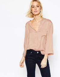 Блузка с карманом и шелковой вставкой спереди Gestuz - Розовая роза