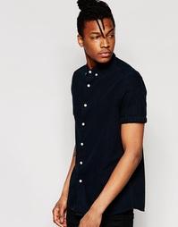 Черная джинсовая рубашка стандартного кроя с коротким рукавом ASOS
