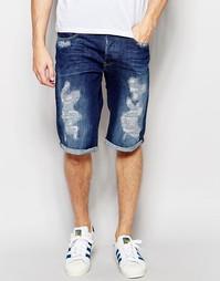 Суженные книзу потертые джинсовые шорты G-Star 3301 70