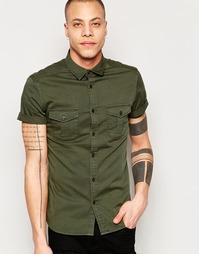 Рубашка в стиле милитари с короткими рукавами ASOS - Хаки