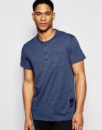 Темно-синяя футболка с горловиной на пуговицах G-Star Rinep