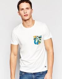 Футболка с контрастным цветочным принтом на кармане Jack & Jones