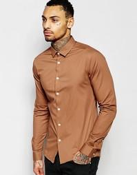 Облегающая рубашка красно-бурого цвета с длинными рукавами ASOS