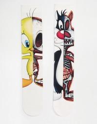2 пары носков с принтом скелетов ASOS - Белый