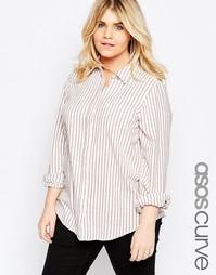 Рубашка бойфренда с полосками цвета ржавчины ASOS CURVE - Кремовый