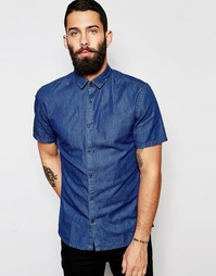 Джинсовая рубашка с короткими рукавами Only & Sons - Mid denim blue