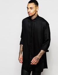 Удлиненная черная рубашка из вискозы с длинным рукавом летучая мышь AS Asos