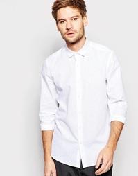 Белая фактурная рубашка стандартного кроя с длинными рукавами ASOS