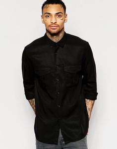 Черная рубашка в стиле милитари с длинными рукавами ASOS - Черный