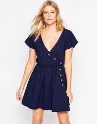 Платье с асимметричным расположением пуговиц Liquorish - Темно-синий