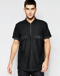 Джинсовая рубашка с 2 карманами и короткими рукавами ASOS - Черный