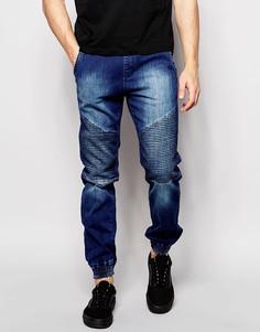 Умеренно выбеленные байкерские джинсы Loyalty & Faith - Синий