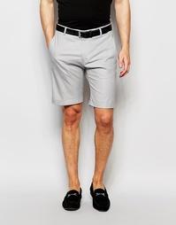 Облегающие хлопковые шорты с отворотами Selected Homme - Серый