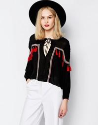 Oversize-блузка с красными кисточками Piper Bacoor - Черный