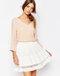 Розовая блузка с V-образным вырезом Suncoo - 05 телесный