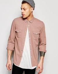 Пыльно-розовая ковбойская джинсовая рубашка с длинными рукавами ASOS