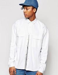 Белая джинсовая рубашка навыпуск с длинными рукавами ASOS - Белый