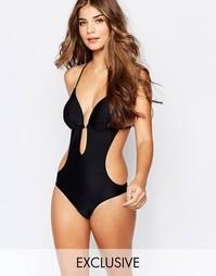 Слитный купальник со спинкой в стиле макраме South Beach - Черный