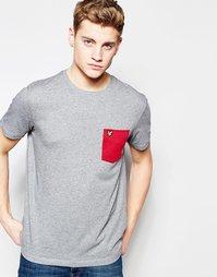 Серая футболка с контрастным карманом Lyle & Scott - Красный