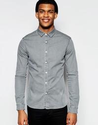 Зауженная светло-серая джинсовая рубашка с длинными рукавами ASOS