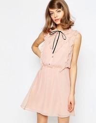 Короткое приталенное платье с оборкой спереди ASOS - Мульти