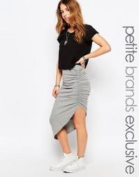 Трикотажная облегающая юбка со сборкой сбоку Noisy May Petite - Серый