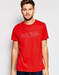 Красная футболка классического кроя с принтом Jack Wills