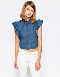 Джинсовая рубашка с рукавами‑оборками Lost Ink - Синий