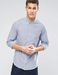 Синяя оксфордская рубашка классического кроя в полоску Tommy Hilfiger