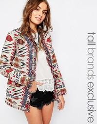 Удлиненная куртка с ацтекской отделкой Glamorous Tall - Мульти