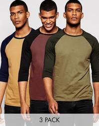 3 футболки с контрастными рукавами 3/4 ASOS - Скидка 23% - Мульти