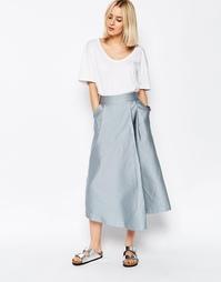 Фактурная атласная юбка-шорты с широкими штанинами ASOS WHITE - Синий