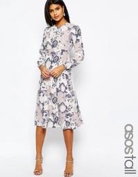 Платье-футляр миди с обойным принтом ASOS TALL - Мульти