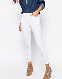 Белые джинсы скинни с прорезной отделкой ASOS RIDLEY - Видимый белый