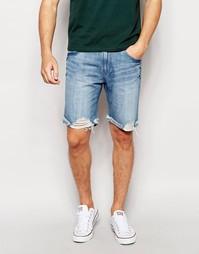 Выбеленные прямые джинсовые шорты Waven - Quarry blue