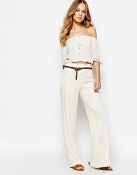 Кружевные брюки с широкими штанинами Supertrash Pilena - Бежевый
