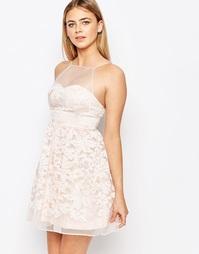Многослойное платье для выпускного из органзы Lipsy - Розовый