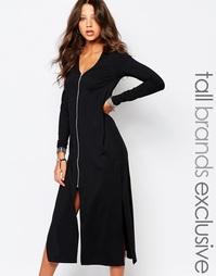 Платье миди с молнией спереди Y.A.S Tall - Черный