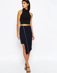 Асимметричная юбка-карандаш с окантовкой ASOS Premium - Темно-синий