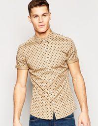 Зауженная рубашка в горошек с короткими рукавами ASOS