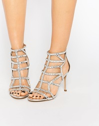 Серебристые босоножки на каблуке с вырезами ALDO Norta - Серебряный