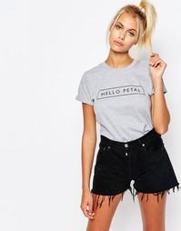 Футболка бойфренда с принтом Hello Petal Adolescent Clothing - Серый