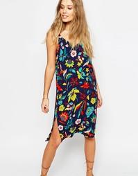 Платье-сорочка миди с тропическим принтом ASOS - Темно-синий принт