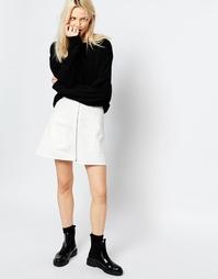 Джинсовая трапециевидная юбка на молнии Monki - Белый